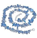 LebensSorge, collana in vetro opalino con chiusura a scatto, 45 cm