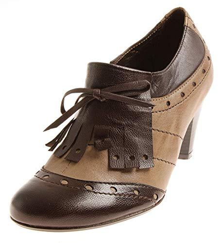 Seaside 0308473 Damen Elegante Ankle Boots Hochfrontpumps Pumps Leder Schuhe Castanho EU 36