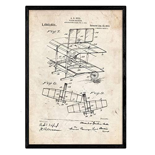 Poster Nacnic Patent Ala vliegtuig. Blad met oud designoctrooi op A3-formaat en vintage achtergrond