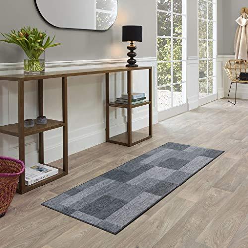 FABRIQ Havana Flur Teppich, Designer Kurzflor Teppich Läufer für Flur, Schlafzimmer, Wohnzimmer & Küche mit Schachbrettmuster, Pflegeleicht, 67x180cm, Grau