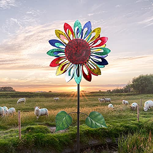 SETSCZY Wind Spinner - Decorative Lawn Ornament Wind Mill -Colored Kinetic Garden Windspinner - Unique Outdoor Lawn and Garden Décor