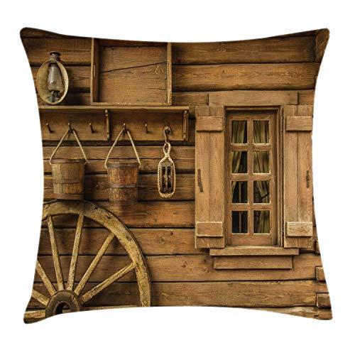 N\A Western Throw Pillow Cojín, Rueda de Carro Antigua Junto a la casa de Madera rústica Vintage Linterna Ventana Cubos Estampado, Funda de Almohada Decorativa Cuadrada Decorativa, Marrón