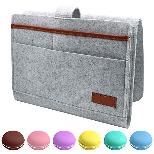 LumenTY Betttasche zum einhängen Filz Betttasche Aufbewahrung Bett Sofa Organizer Bett Organizer Anti-Rutsch Nachttisch Tasche mit 6 Macaron Mini Boxen Sofa Bett Hängeaufbewahrung