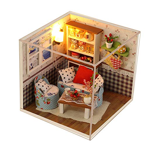 CONTINUELOVE DIY Miniature Doll House Kit - Wooden Miniature Dollhouse Model Kit - with Furniture,Voice-Activated Lights and Dust Cover - The Best Toy Gift for Boys and Girls(Warm Memories)