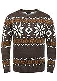 !Solid Norwig Herren Weihnachtspullover Norweger-Pullover Winter Strickpullover Grobstrick Pullover mit Rundhalsausschnitt, Größe:L, Farbe:Coffee Bean Melange (8973)