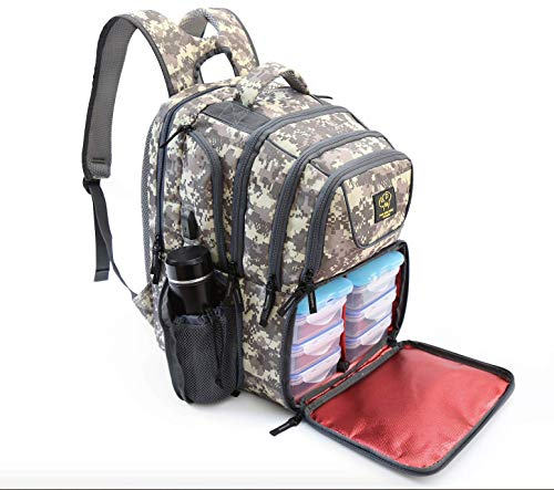 2020 UPGRADED 519 Fitness Meal Prep Backpack Insulated Waterproof-Cooler Lunch Backpack bag Hiking Backpack for Men and Women Cooler Backpack with 6 Leakproof Meal Containers and 2 IcePacks Camouflage