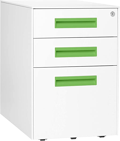 Stockpile Square Mobile 3 Drawer File Cabinet White Bright Green