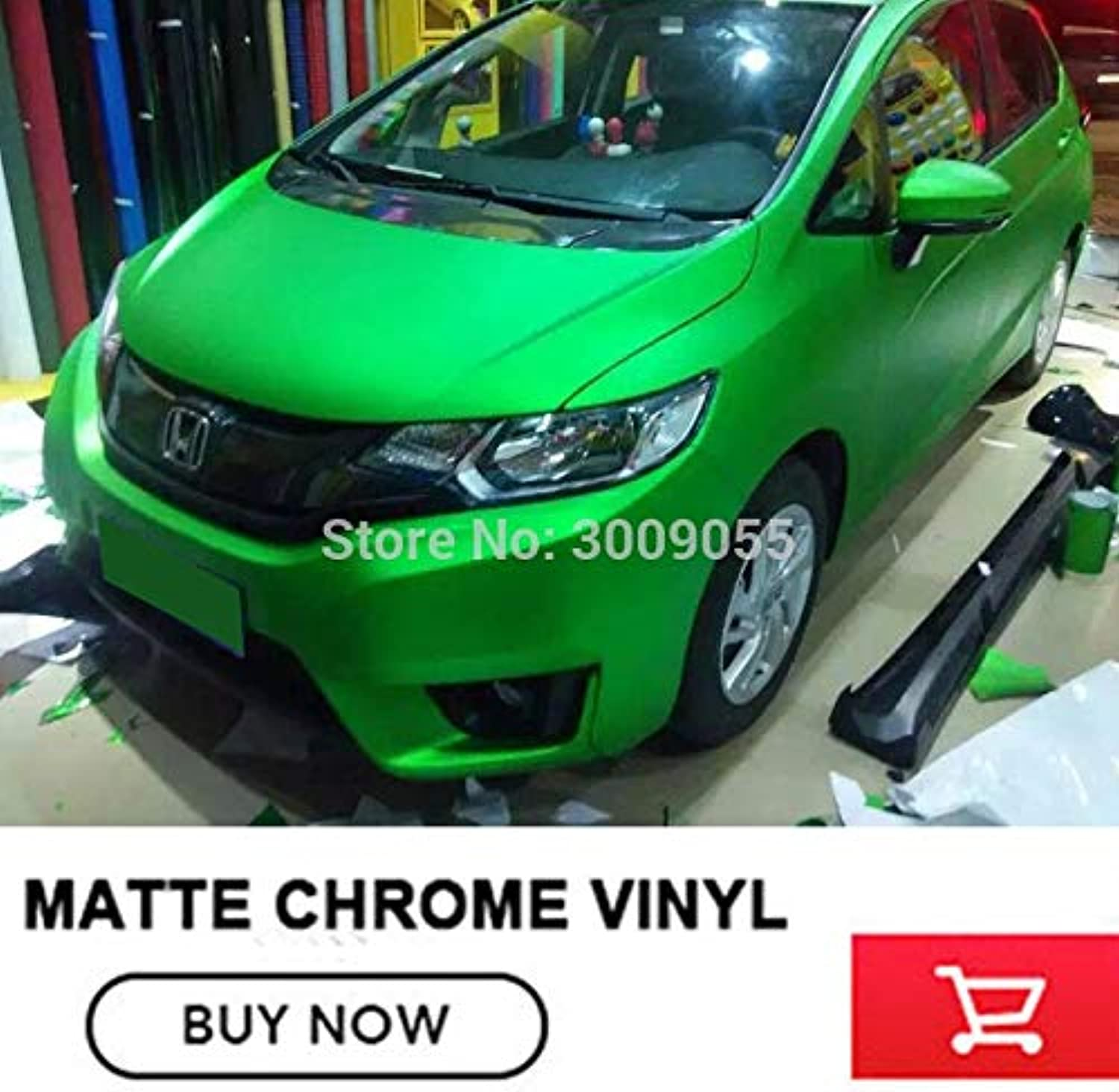 Matte Chrome Green Film Vinyl Wrap with air Release Green Car Wraps Foil Size 1.52x20m Roll hot color  (Size  152cm X 20m)