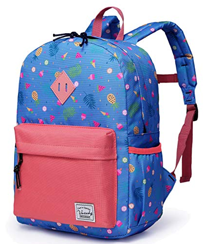 VASCHY Kids School Bag, Backpack for Girls School Backpack with Side Pocket Cute Preschool Backpack with Chest Strap