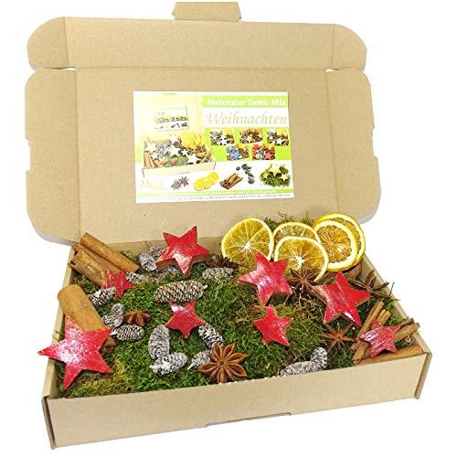 MGS SHOP - Set di decorazioni natalizie creative, decorazione naturale, muschio, anice, cannella, arancia e stella di cocco (rosso lucido)