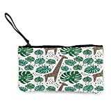 Monedero clásico con diseño de hojas de palma, diseño de jirafas, bolsa de maquillaje, bolsa de teléfono móvil con asa