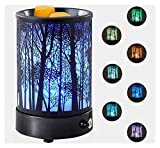 Hituiter Wax Melt Warmer for Scented Wax with 7 Colors LED Lighting Oil lamp Electric Wax Burner Melter Candle Warmer Classic Black Forest Design for Fragrance Home Décor,Gifts