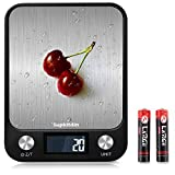 Supkitdin Báscula de cocina digital, báscula electrónica (22 lb / 10 kg) botón táctil, báscula de alta precisión con pantalla LCD retroiluminada, función de tara para cocinar, negro