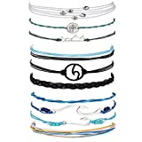 Vsco Braclets Ocean Wave Bracelet Adjustable 100% Waterproof Handmade Strand Braided Rope Friends String Anklet Bracelet Set for Women Girls