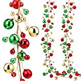Syhood 9.8 Feet Christmas Ornament Ball Garland Ball Ornament Xmas Tree Balls Hanging Ball Baubles for Christmas Holiday Wedding Party Decoration (Red, Green, Golden)