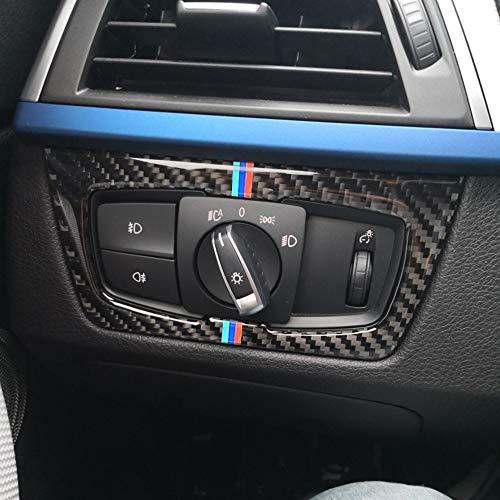 Carrfan Carbon Fiber Scheinwerferschalter Dekorativ Cover Sticker für BMW F30 F31 F32 F33 F34 (2012-2020)
