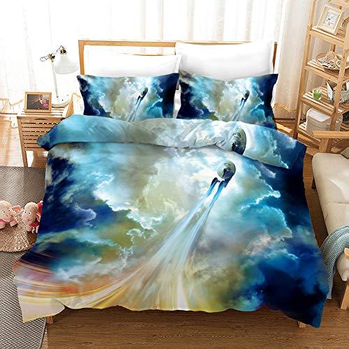 Ruiqieor Bettwäsche 135x200,Star Trek Bettbezug Bettwäsche Set -Raumfahrzeug Bettbezug und Kissenbezug, 100% Mikrofaser,3D Digital Print dreiteiliger Bettwäsche(#03)