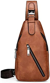 JEEP BULUO Leather Sling Bag Travel Hiking Crossbody Backpack for Young Men