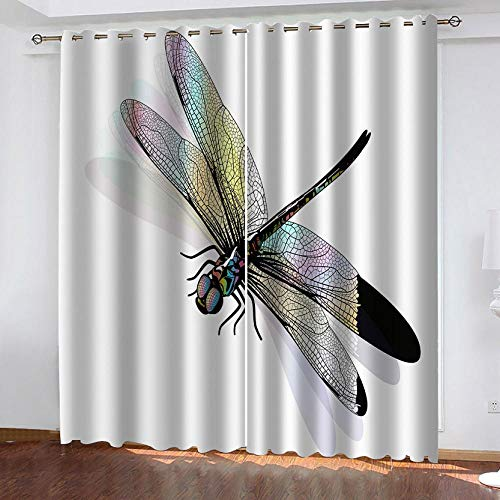 zpangg Black Out Window Cover Dragonfly Blackout For Children Bedroom Eyelet Thermal Insulated Room Darkening Curtains For Nursery Living Room Bedroom 150×166Cm