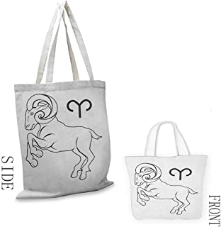 Shopping work bag Zodiac Aries Monochrome Hand Drawn Style Jumping Horned Animal and Horoscope Sign Cosmetic bag 16.5