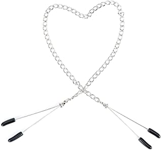 Ňipple Clamps with Metal Chain Adjustable Brêàst Labia Clips Clít Clamp for Couple Fetish Game Massaḡer