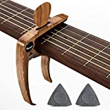 Guitar Capo, Capo for Acoustic Electric Guitars Mahagony Grain with Pin Puller, Pick Holder and Two Gray Plastic Guitar Picks with Three Thickness(wood pick not included)
