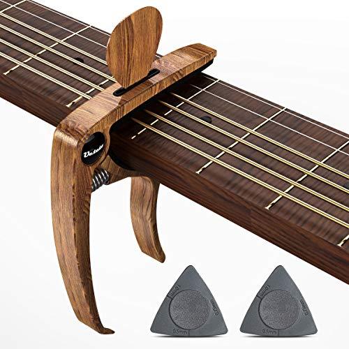 Gitarren Kapodaster, Capo für akustische E-Gitarren Mahagony Grain mit Pin Puller, Pick Holder (WOOD)