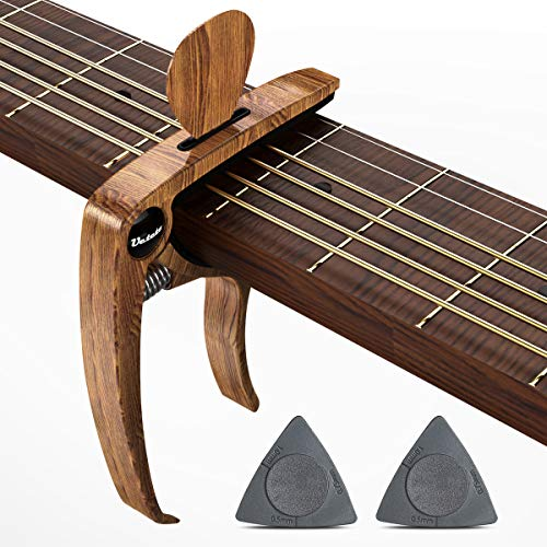 Guitar Capo, Capo for Acoustic Electric Guitars Mahagony Grain with Pin Puller, Pick Holder and Two Guitar Picks (wood)