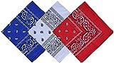 Pack 3 Pañuelos Bandanas de Paisley de Algodón para Cuello Pulsera Cabeza Unisex (azul+blanco+rojo, Talla única)