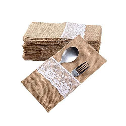 Qiajie 10 piezas de cuchillos tenedores bolsa de arpillera natural de encaje para utensilios de arpillera, tenedores de arpillera, bolsas para bodas, fiestas, decoraciones de Navidad