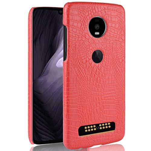 HualuBro Handyhülle für Moto Z4 / Moto Z4 Play Hülle, Premium PU Leder Ultra Slim Stoßfest Schutzhülle Lederhülle Back Bumper Hülle Cover für Motorola Moto Z4 / Z4 Play Tasche (Rot)