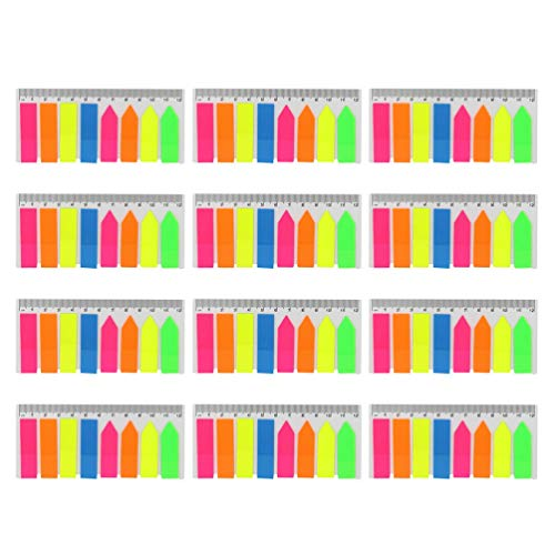 STOBOK Neon Page Markers Tabs Colored Index Tabs Flag Fluorescent Sticky Note for Page Marker,960 Pieces