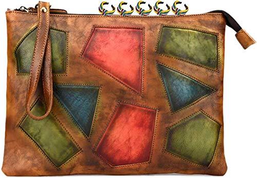 ANZRY Stitched Leather Ladies Messenger Bag Patched Shoulder Bag Clutch Envelope Bag,D