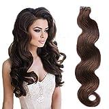 Cinta en extensiones de cabello humano Dark Brown 20pcs Set 60g Body Wave ondulado Trama en cabello humano Remy (55cm, 2-bw)