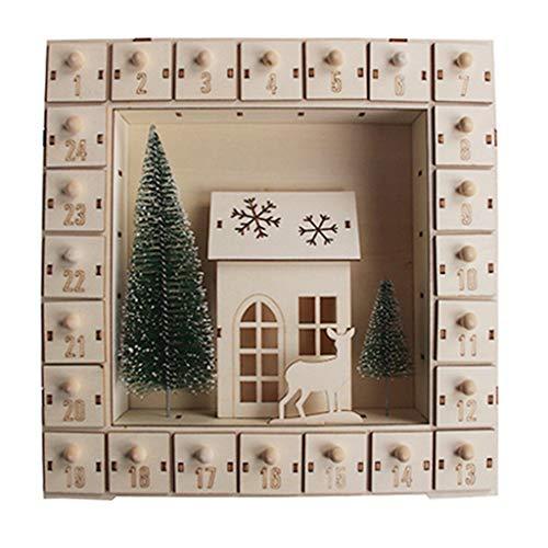 RG-FA Calendario de Adviento de madera con 24 cajones de luz LED,...