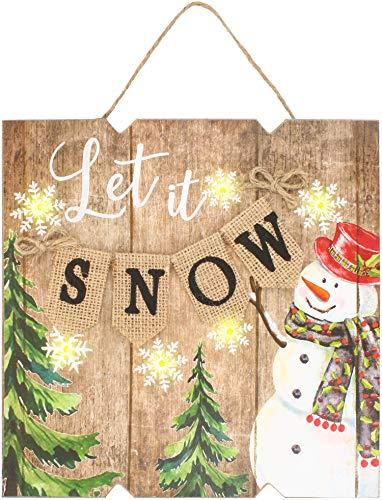 COM-FOUR® Kerstfoto op houten bord met LED-verlichting voor Kerstmis, Kerstlichtbord met 6 LED's, werkt op batterijen 24 x 24 x 3 cm (Laat het sneeuwen)