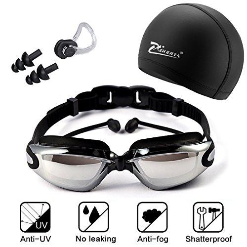 XQ7 Neu Schwimmbrille Set, umfassen Einstellbare Brille mit Ohrstecker + Badekappe + Nasenklammer, UV-Schutz Anti Nebel, Silikon undicht, für Männer Frauen, Erwachsene, Jugend Kinder, Kind