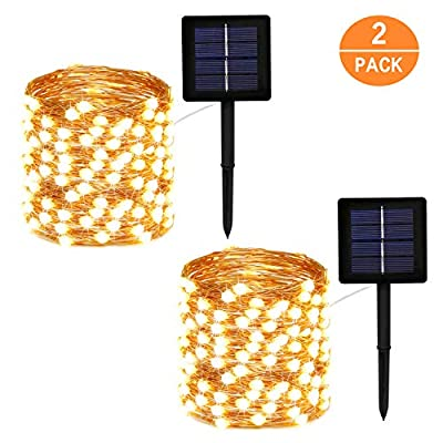 EXF 2 Pack Solar String Lights Outdoor, Super Bright and Bigger 200 LED Solar Lights Outdoor - Waterproof Copper Wire 8 Modes Solar Fairy Lights for Garden Patio Yard Party Festival (Warm White)