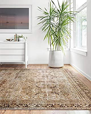 """Loloi ll Layla Collection Printed Vintage Persian Area Rug 7'6"""" x 9'6"""" Olive/Charcoal"""