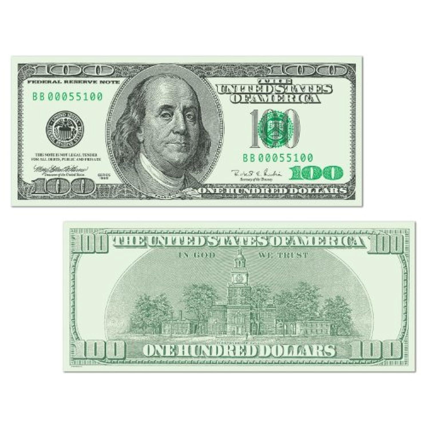 Beistle 55100 24-Pack Big Bucks Cutout Dollar 100 Bill Party Decoration, 7-1/2-Inch by 17-1/2-Inch