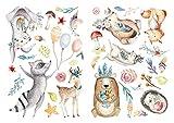 dekodino Pegatina de pared acuarela animales del bosque en prado decoración