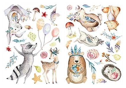 dekodino® Pegatina de pared acuarela animales del bosque en prado decoración