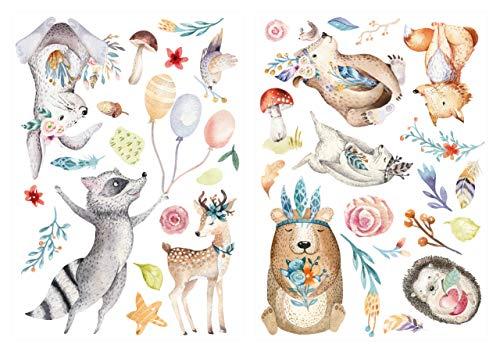 dekodino® Wandtattoo Aquarell Waldtiere auf der Wiese Wanddeko Set