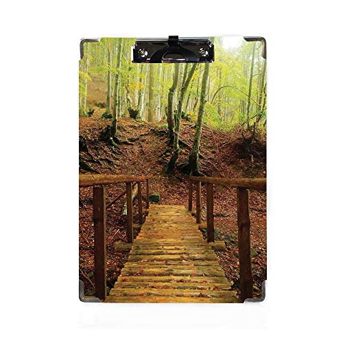 Apartment Decor Letter Size Clipboard,Weathered Wooden Bridge over River Leads to a Footpath Between Birch Trees in Autumn Decorative Paper Holder,Personalized Office Gift for Coaches,Teachers,Medical
