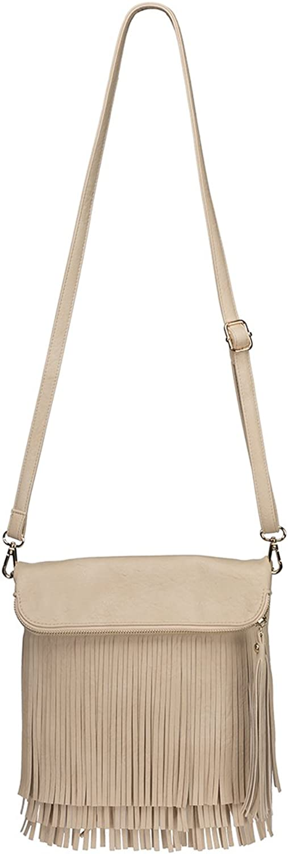 Agency Avenue Vegan Leather Foldover Boho Crossbody Bag with Front Fringe Tassel