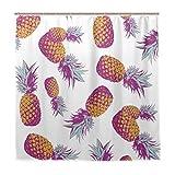Luckyeah Duschvorhang mit tropischen Früchten, Ananas, wasserdicht, dekorative Badezimmer-Gardinen mit Haken für Zuhause, Hotel, 180 x 180 cm