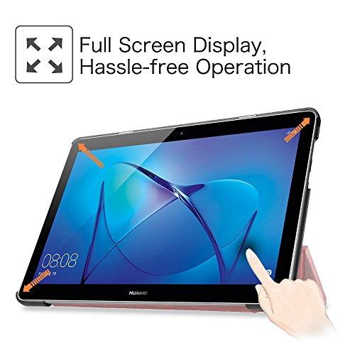 Fintie Huawei Mediapad T3 10 Hülle Case - Ultra Dünn Superleicht Flip Schutzhülle mit Zwei Einstellbarem Standfunktion für Huawei MediaPad T3 (9,6 Zoll) 24,3 cm Tablet-PC, Roségold - 3