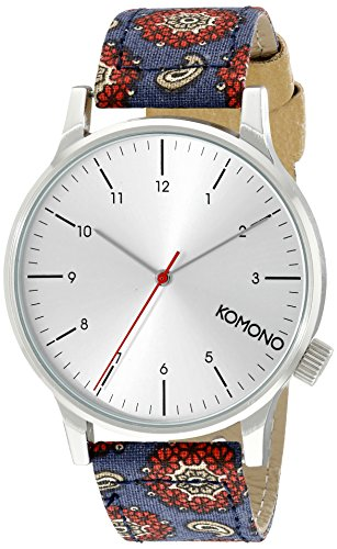 KOMONO Unisex KOM-W2154 Winston Print Series Silver-Tone Watch with Patterned Band