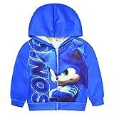 Sudadera con capucha Sonic para niños con cremallera para disfraz de erizo, manga larga, camiseta deportiva