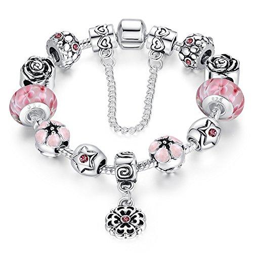 A TE Bracciale Charm Beads Fiori di Vetro Smalto Catena Sicurezza Regalo Donna #JW-B107 (Rosa)